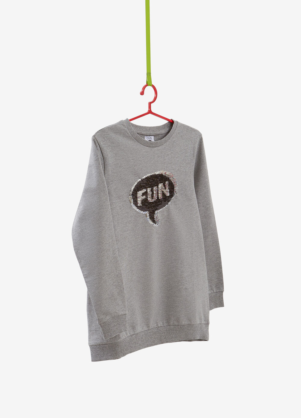 100% cotton sweatshirt with sequinned lettering