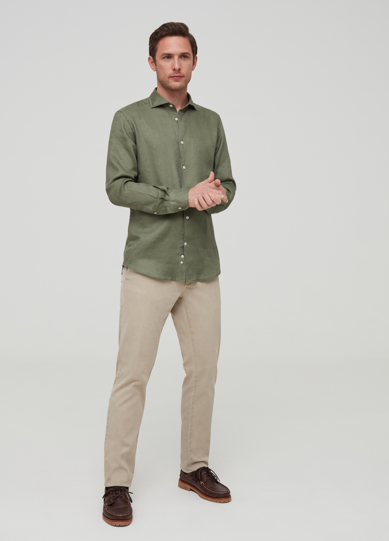 Solid colour 100% linen shirt image number null
