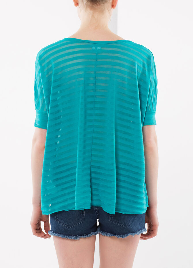 Blouse with see-through stripes