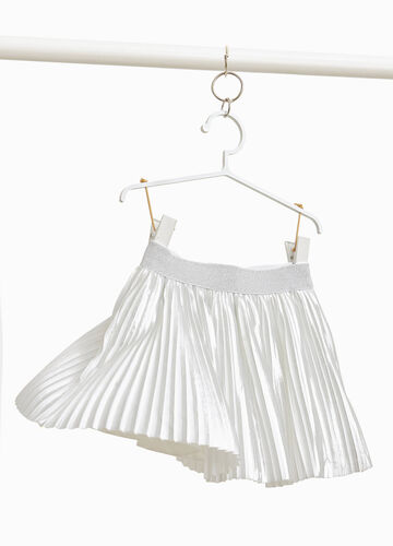 Shiny pleated skirt with glitter waistband