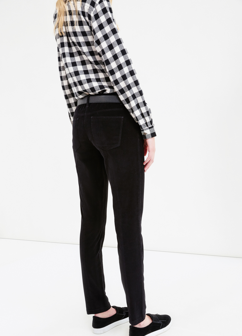 Solid colour stretch velvet trousers image number null