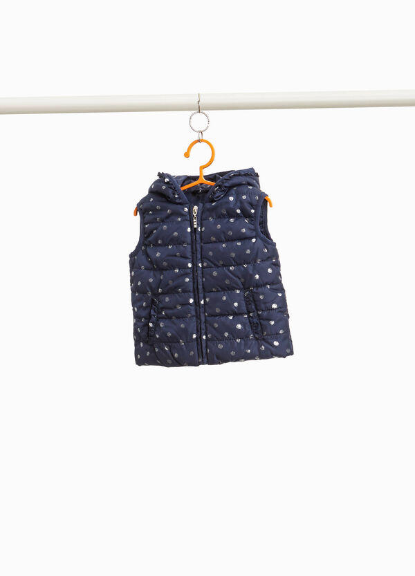 Padded gilet with flounce and glitter polka dots