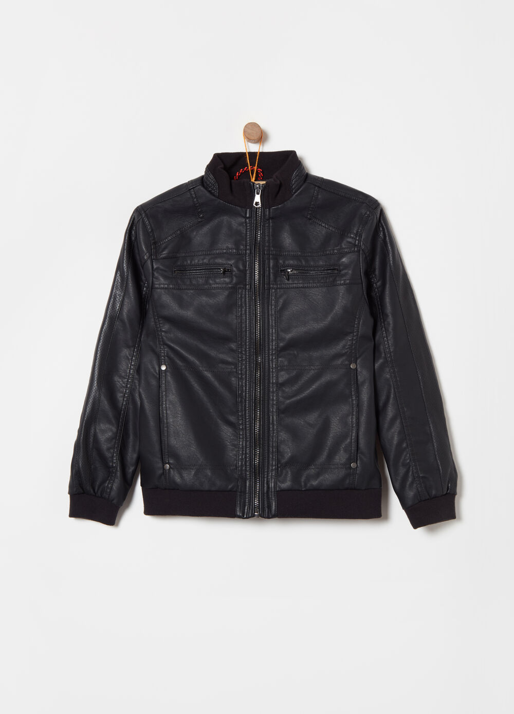 Leather-look jacket with openwork details
