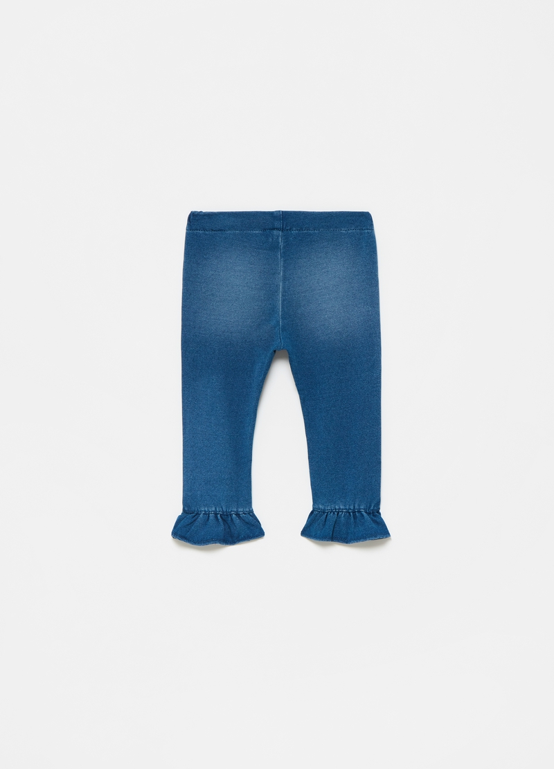 Jeggings in French Terry denim con rouches image number null