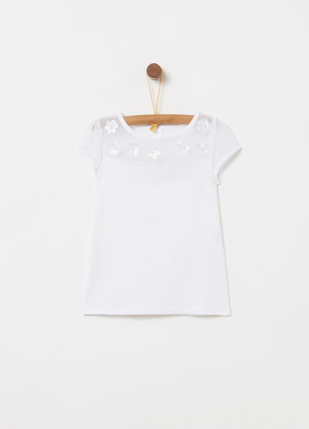 T-shirt with transparent insert and flowers