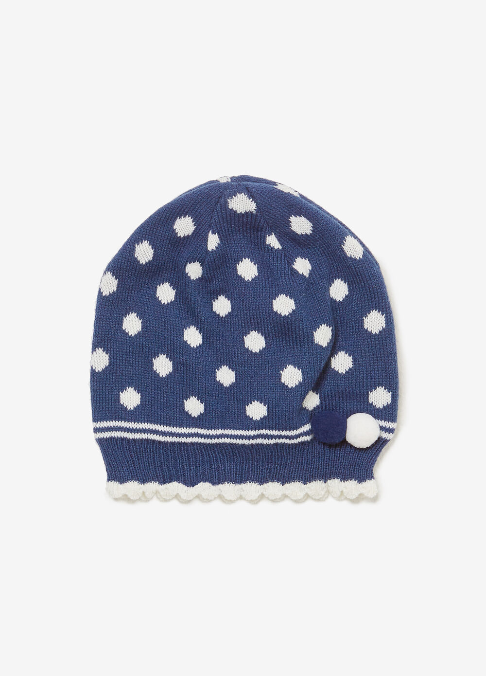 Polka dot beanie cap with pompom