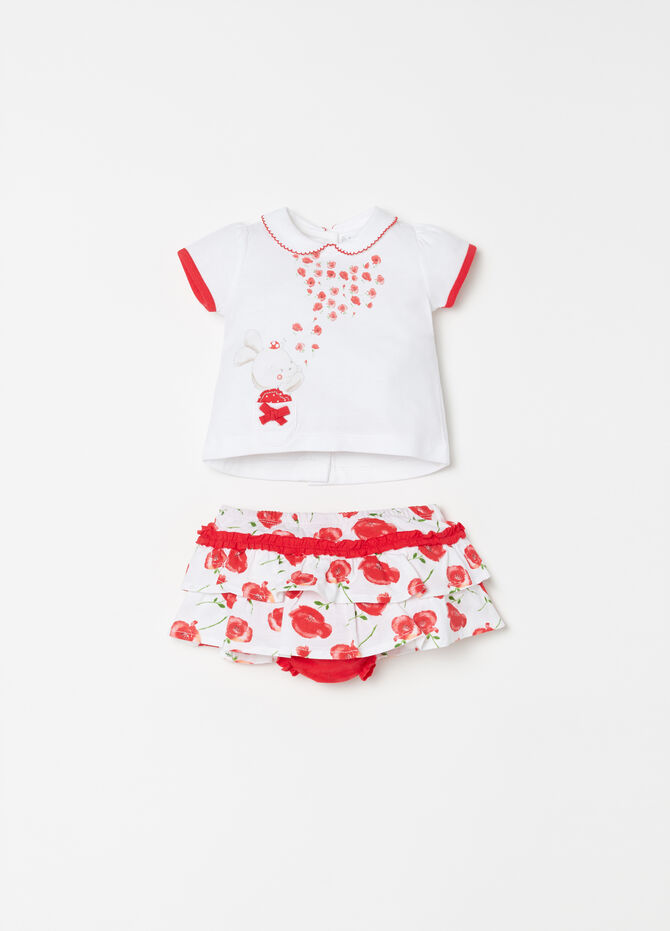 Set t-shirt stampa e gonna balze floreale