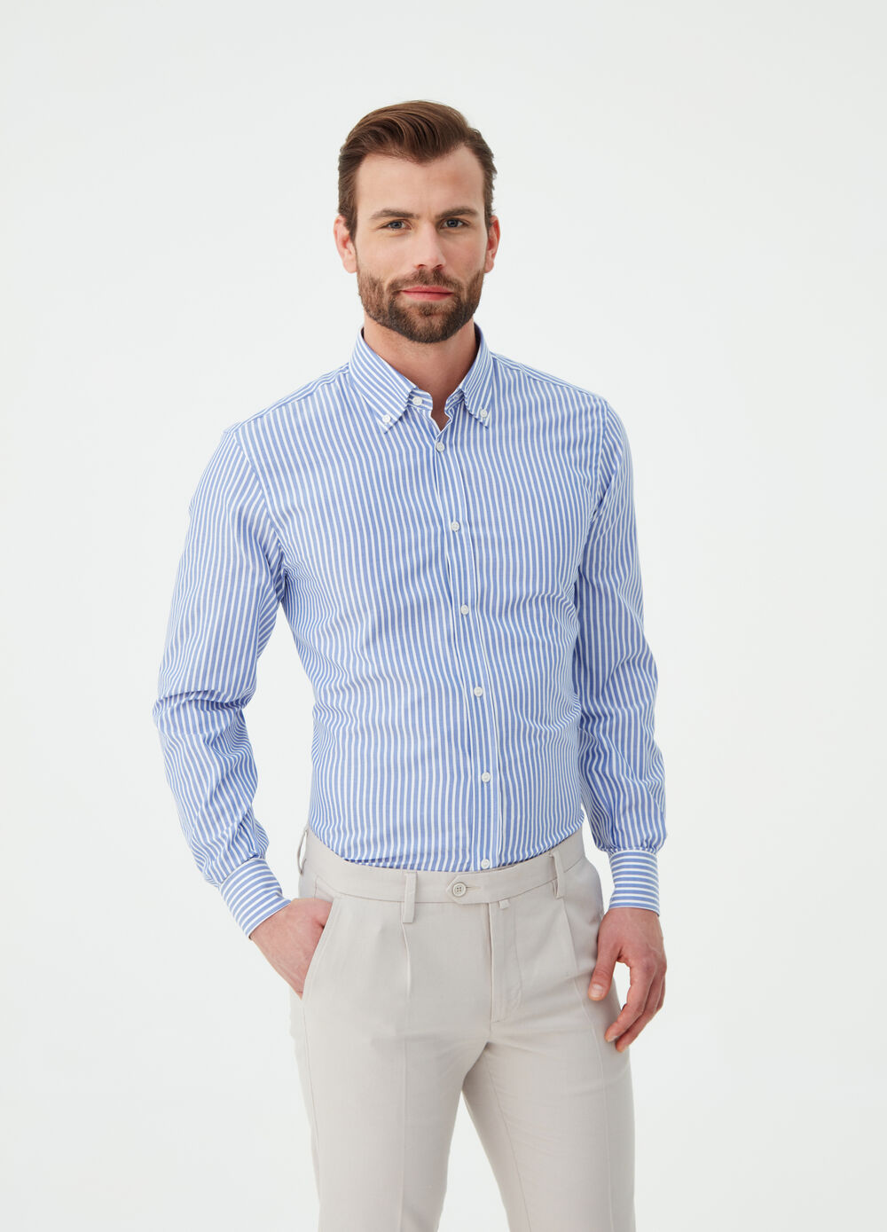 Regular-fit shirt in pin-point cotton