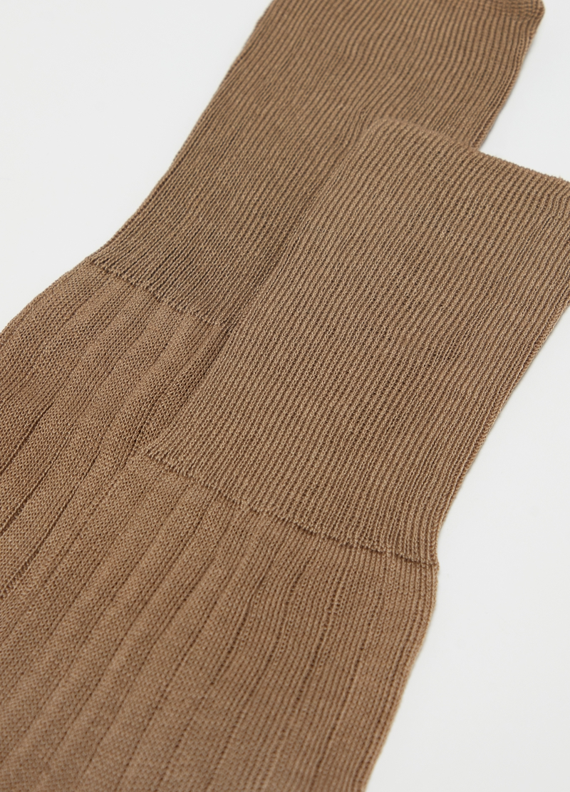 Long ribbed socks in 100% cotton image number null
