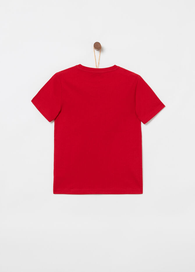 Jersey T-shirt with print and ribbing