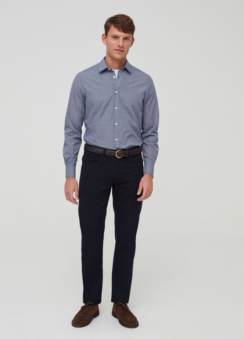 Micro check shirt with cutaway collar image number null