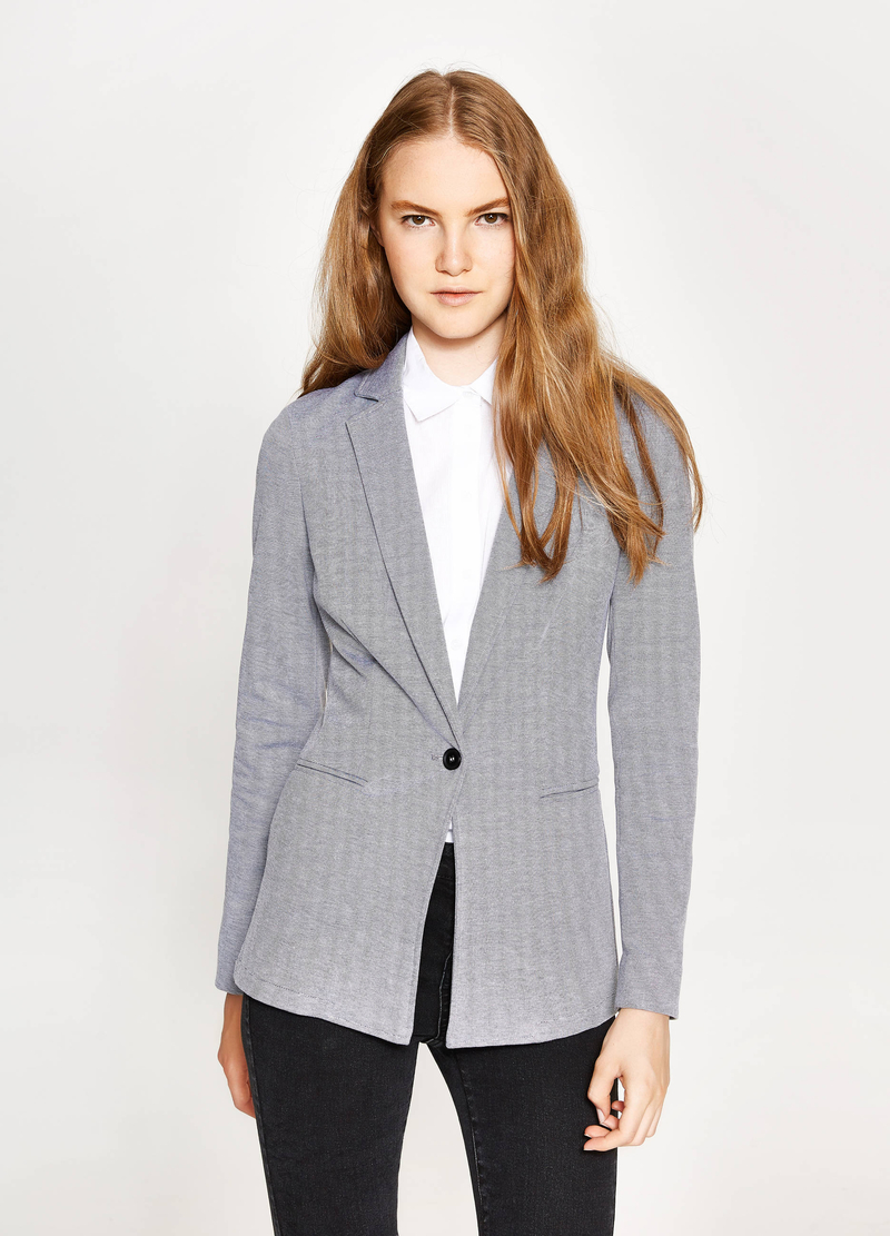 Blazer in viscosa stretch con revers image number null
