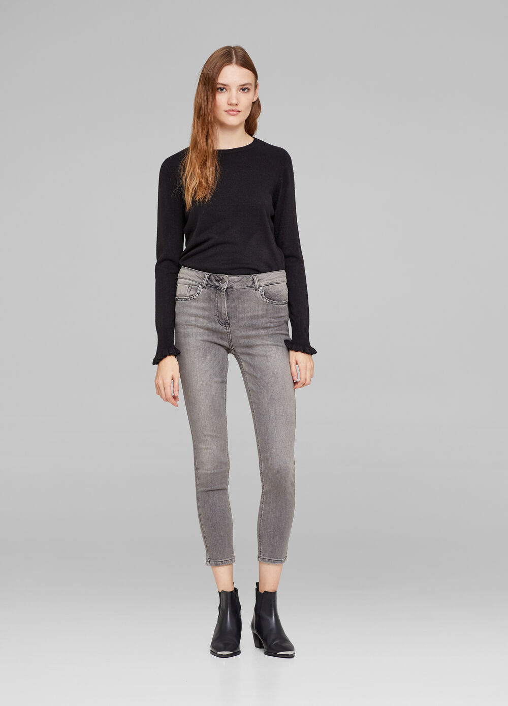 Stretch faded-effect cigarette jeans