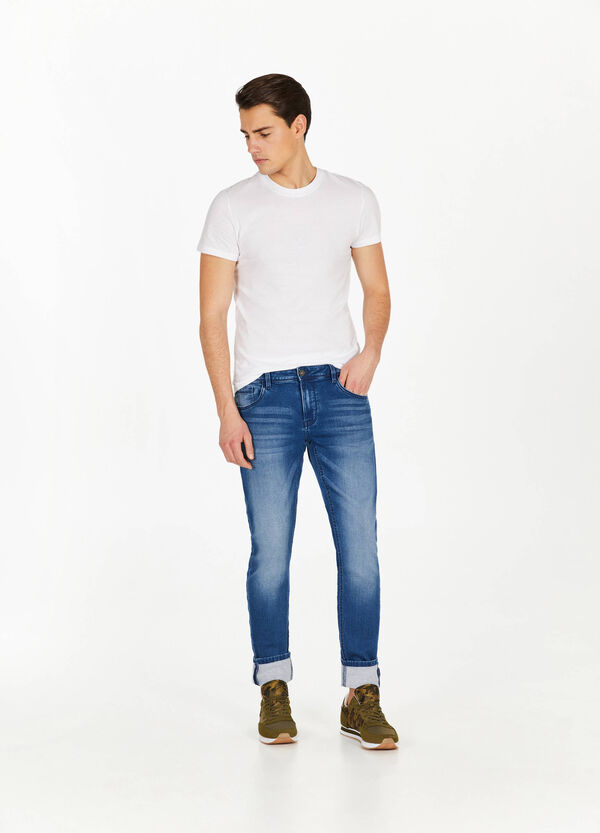 Jeans slim fit stretch con baffature