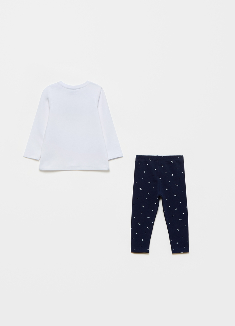 Jogging set with T-shirt with kitten print and leggings image number null