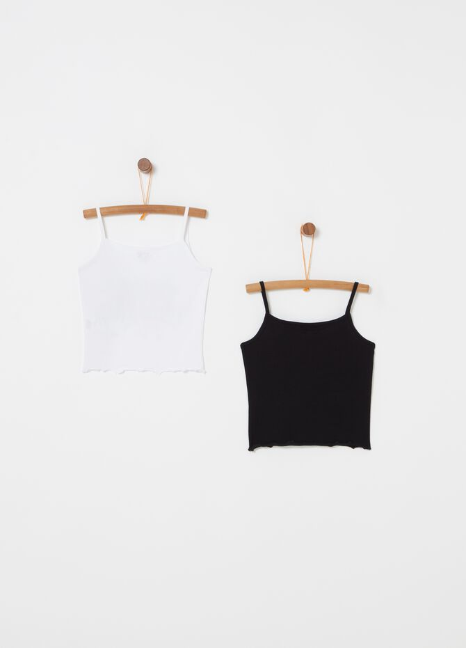 Two-pack stretch cotton tops with print