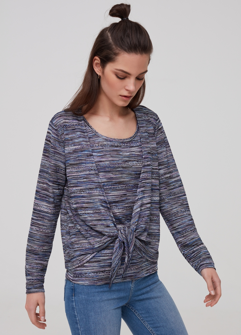 Cardigan with knitted lurex image number null
