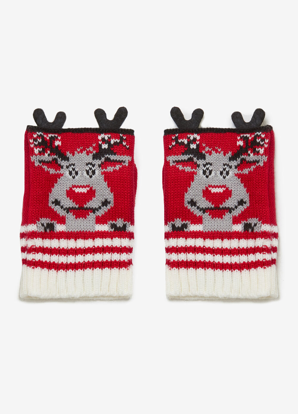Mittens with reindeer print