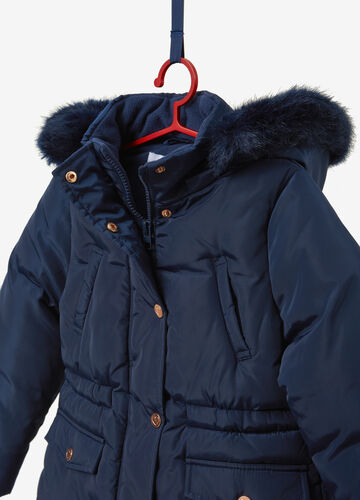 Solid colour down jacket with hood