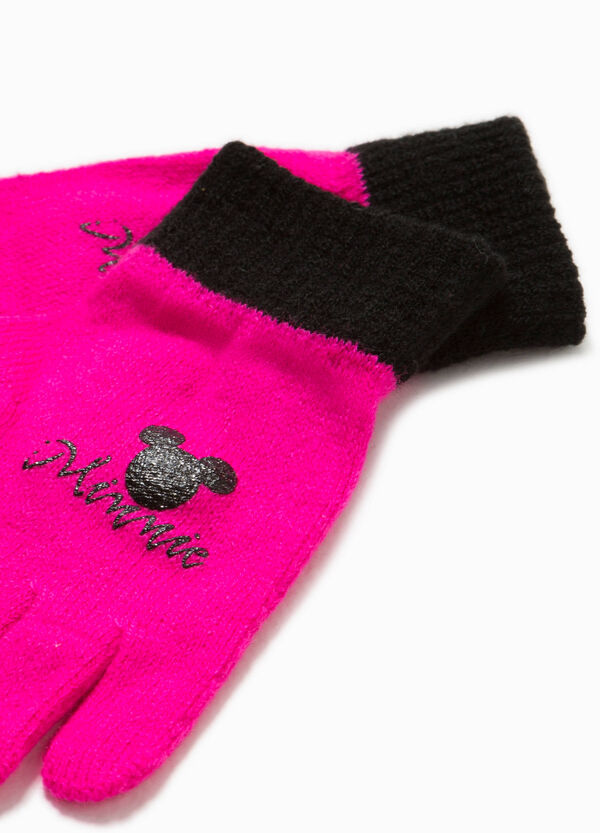 Knitted gloves with Minnie Mouse print | OVS