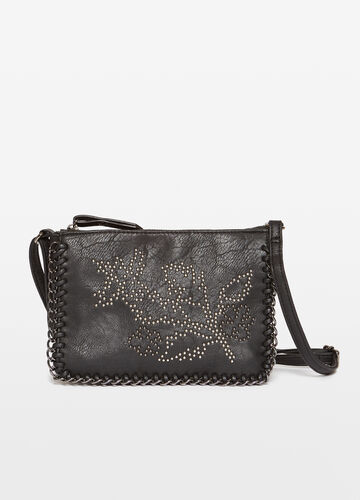 Shoulder bag with studs and chain