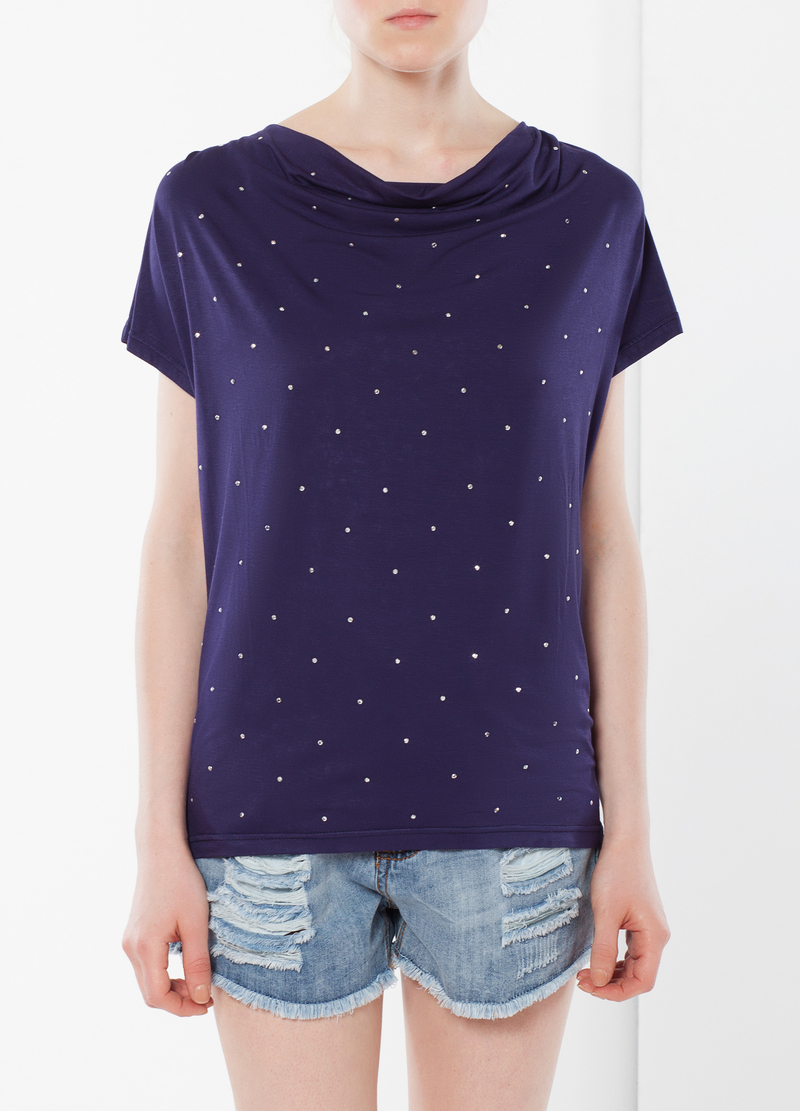Stretch T-shirt with rhinestones image number null