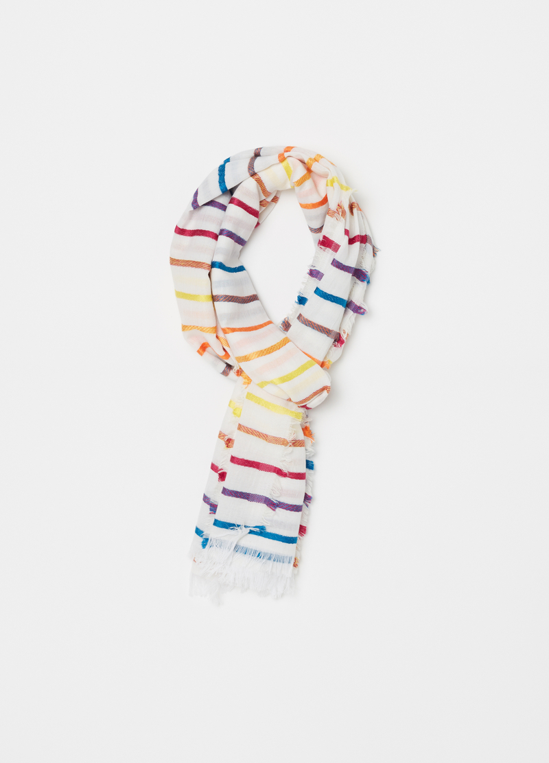 Striped pattern pashmina with fringed trim image number null
