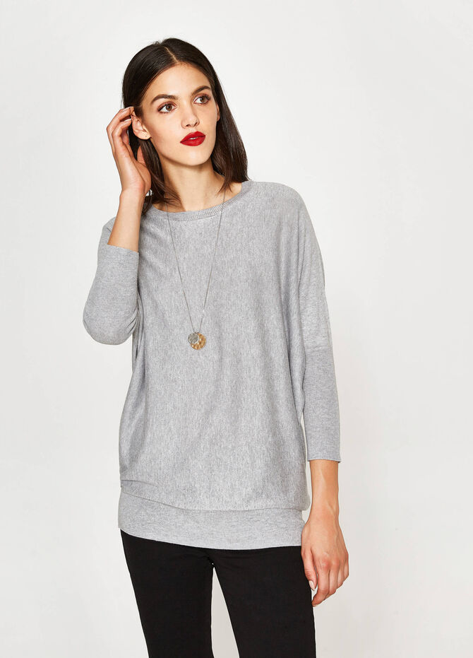Cotton and viscose batwing pullover