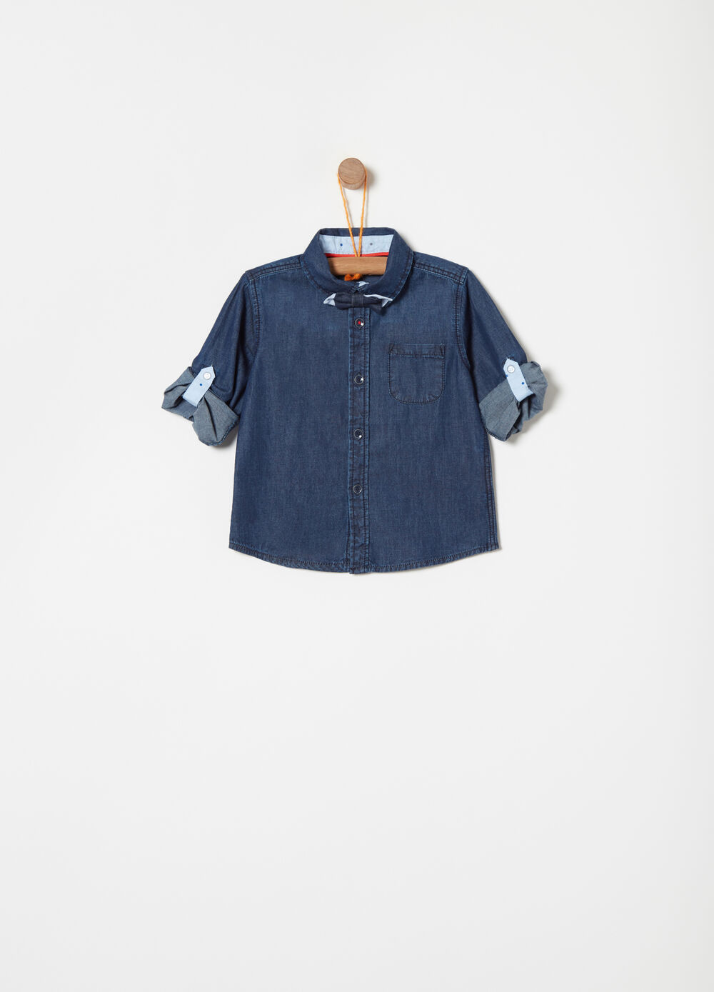Denim shirt with bow and pocket