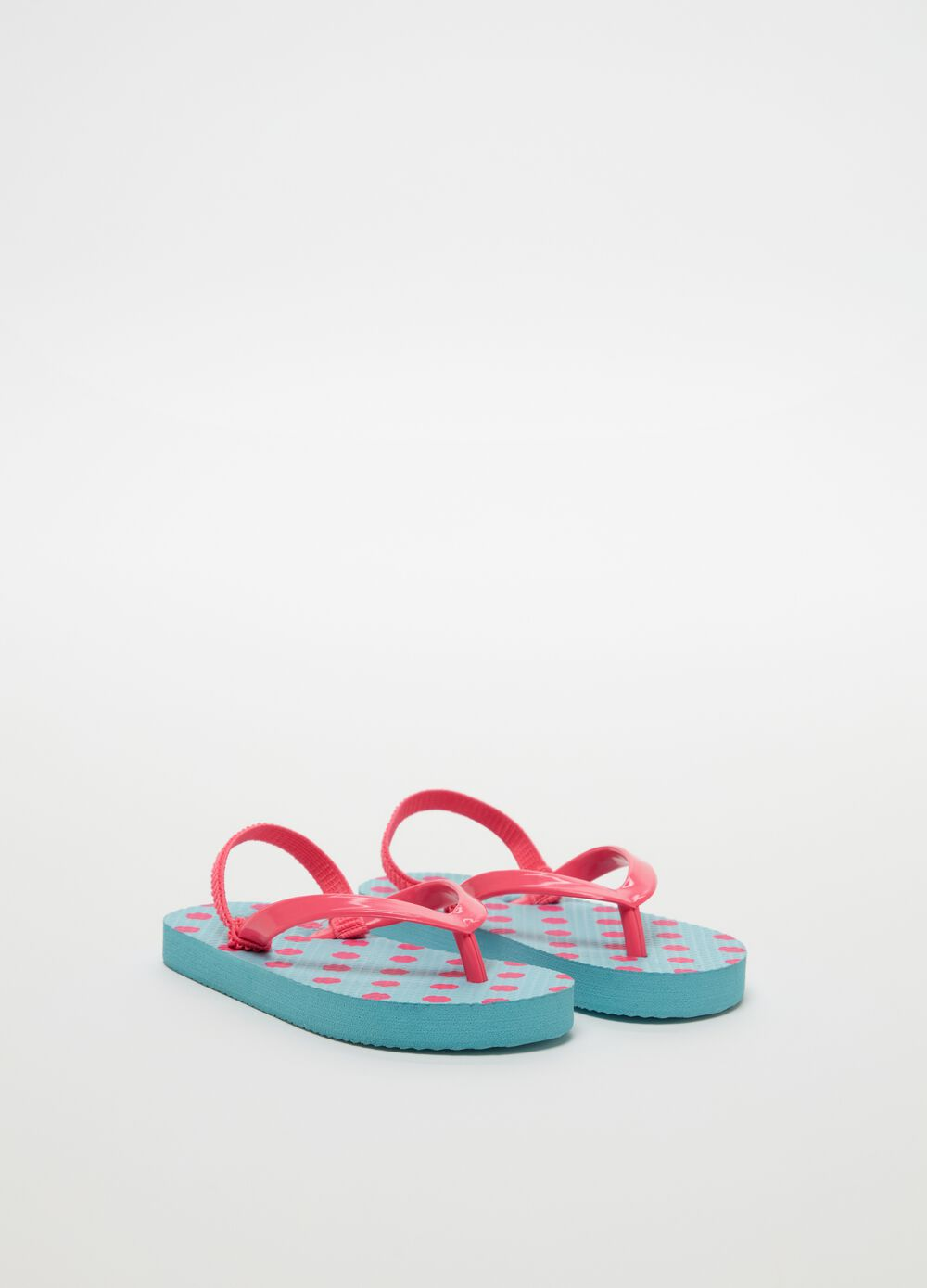 Thong sandals with polka dot pattern and laces