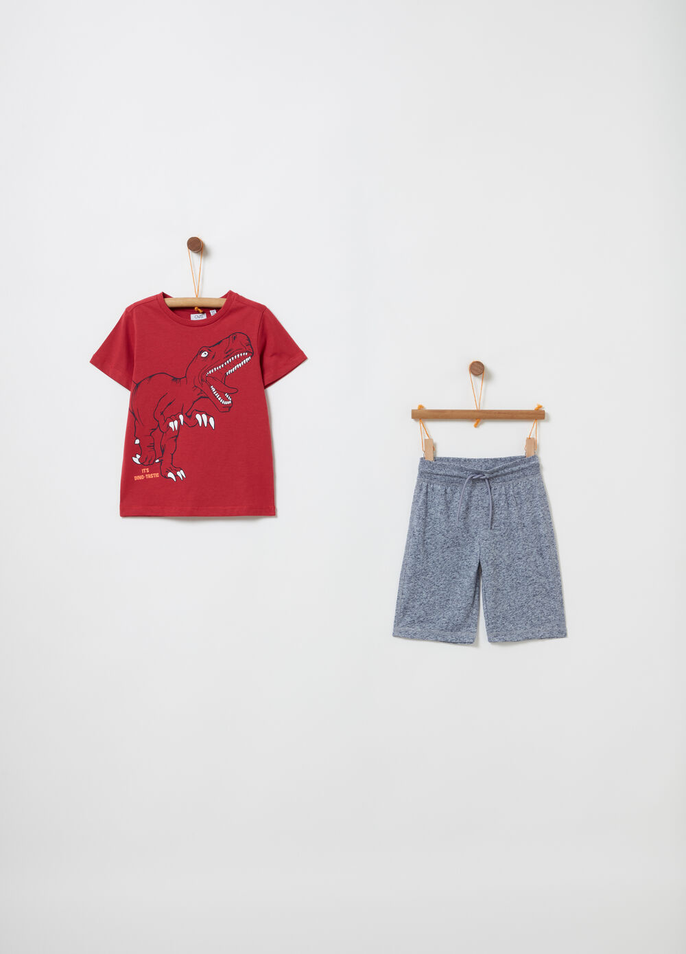 Jogging set t-shirt e shorts mélange