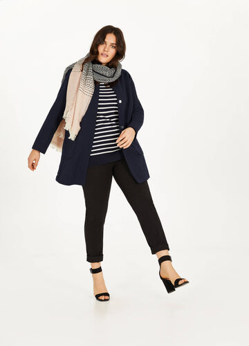Cappotto stretch con trama Curvy