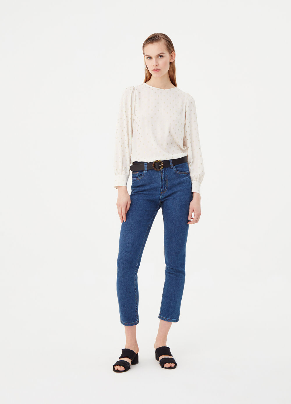 Crêpe blouse with wide polka dot sleeves