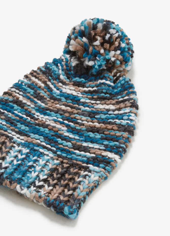 Knitted beanie cap with lurex
