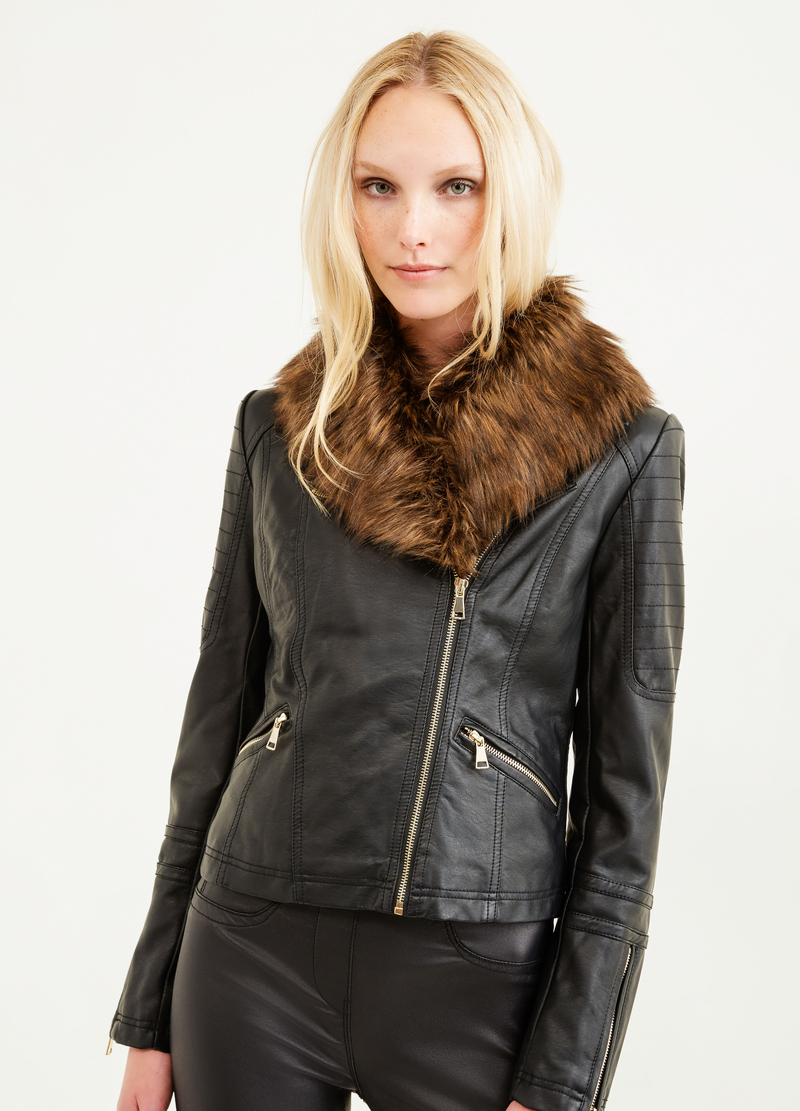 Leather look jacket with zip image number null