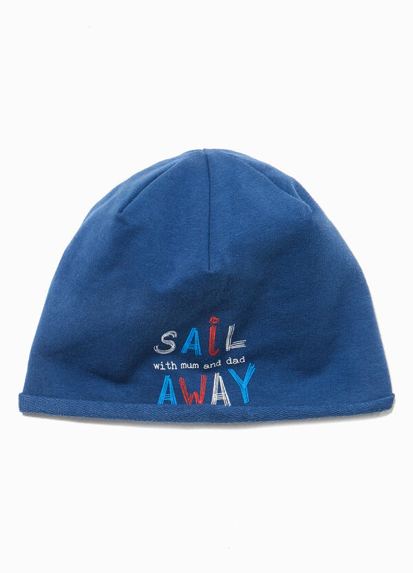 Cotton beanie cap with lettering print