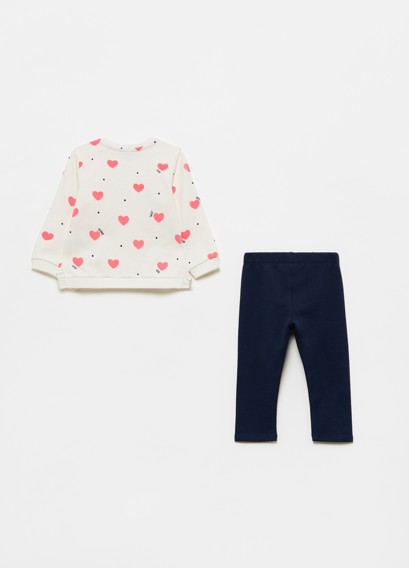 Stretch cotton jogging set with hearts pattern image number null