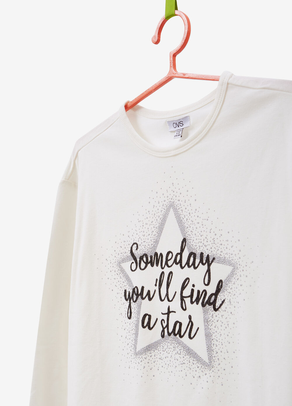 T-shirt in stretch cotton with glitter print