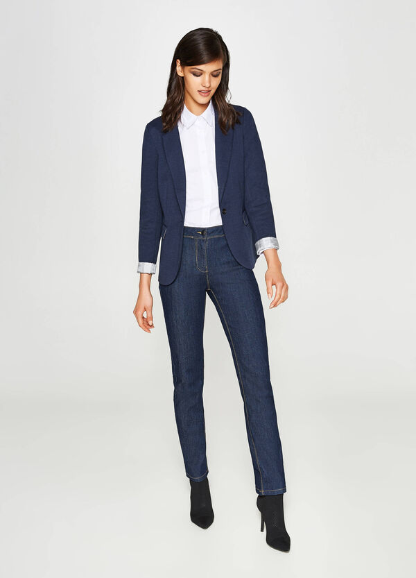 Cotton blend blazer with lapels | OVS