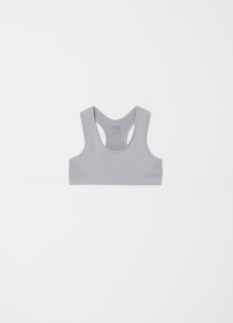 Microfibre gym top with V neck image number null