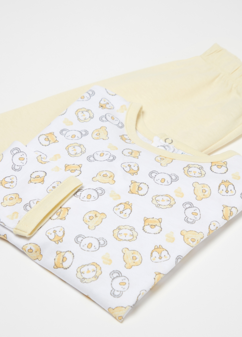 Long 100% organic cotton pyjamas with animals image number null