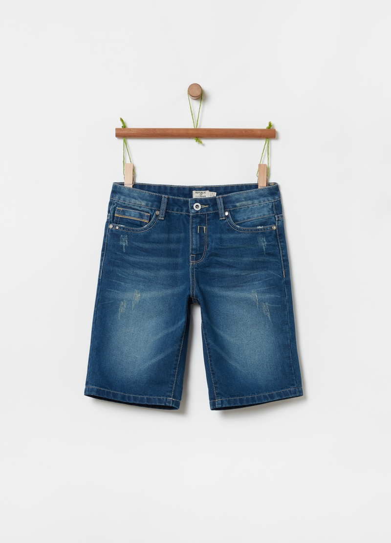 Denim Bermuda shorts with five pockets image number null
