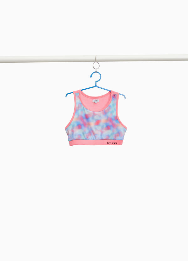 Top crop stretch stampa all-over