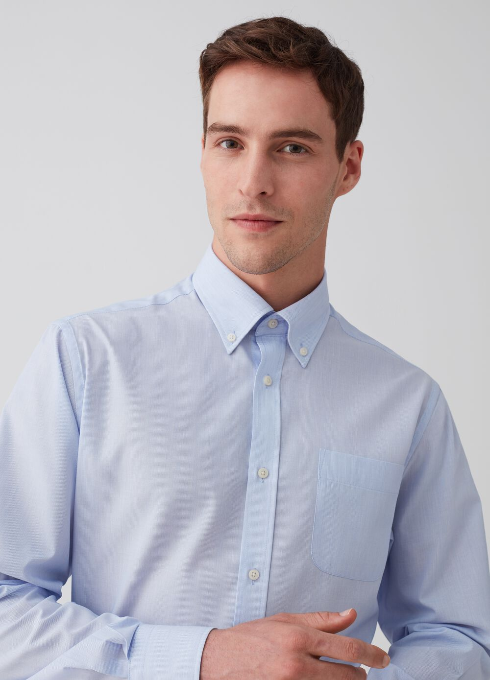 Regular-fit button-down shirt with stripes
