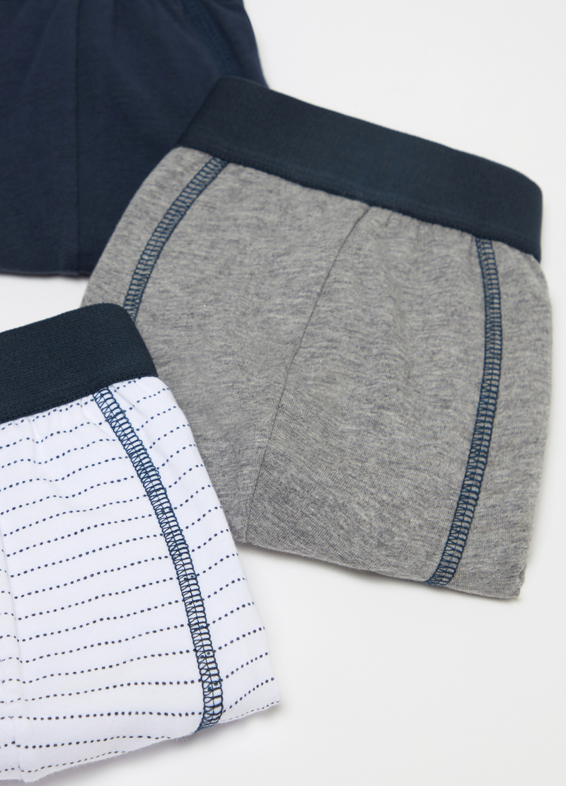 Three-pack boxer shorts with pattern in stretch cotton image number null