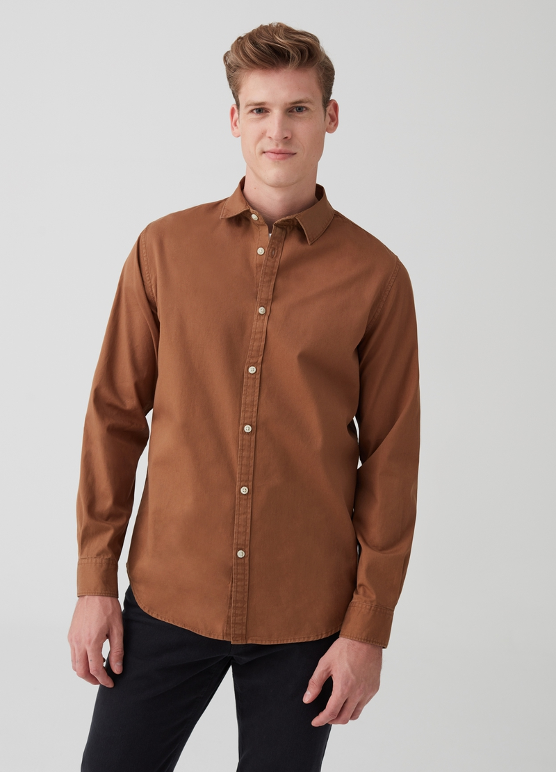 Camicia slim fit in twill tinto capo image number null