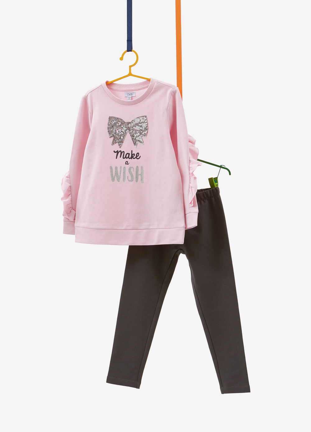 Cotton tracksuit with sequins, bow and print