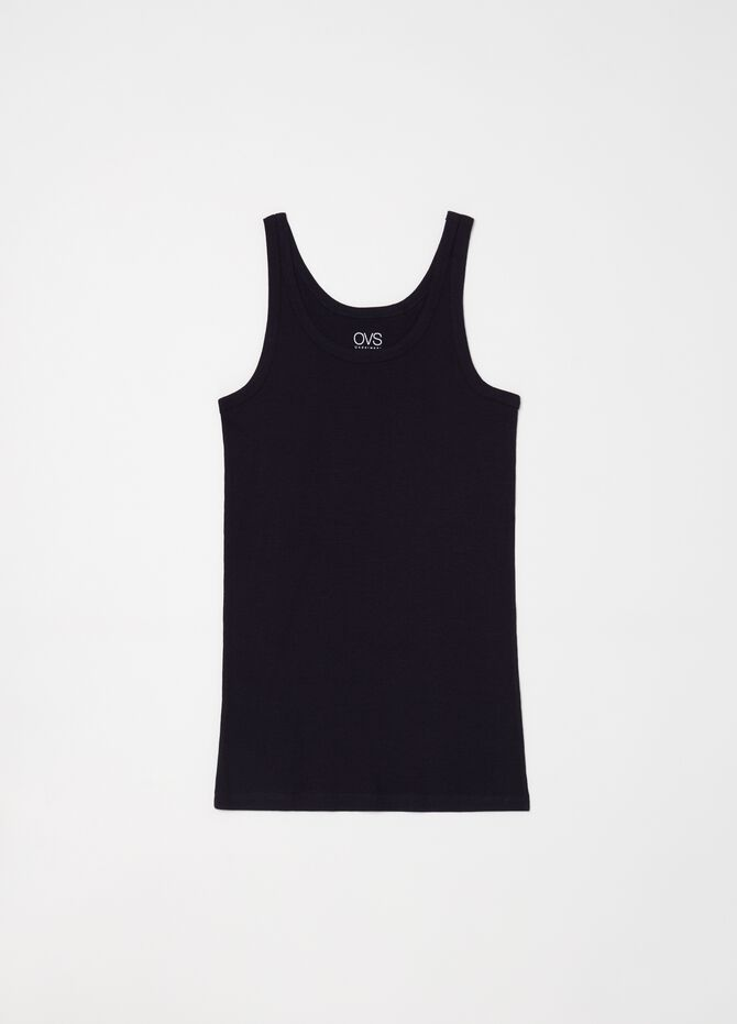 Ribbed racerback top in 100% cotton