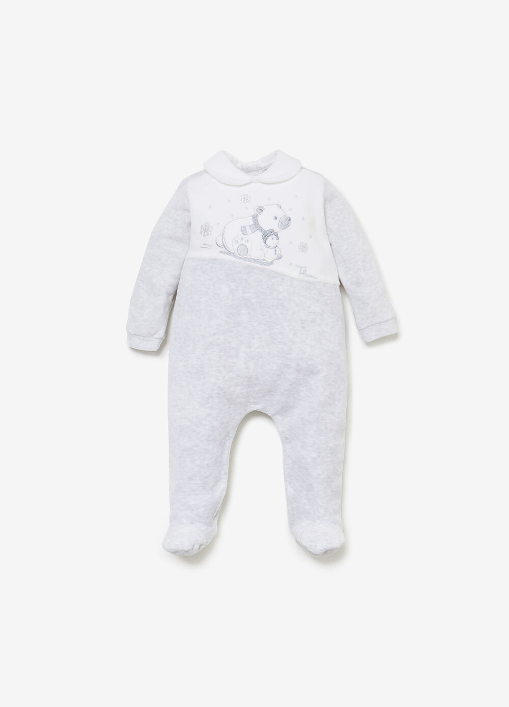 THUN two-tone romper suit with polar bear patch