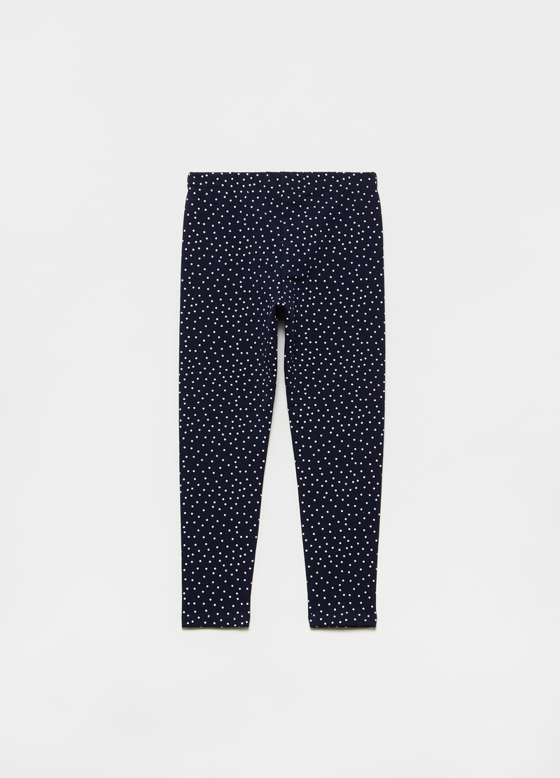 Stretch leggings with all-over polka dot print image number null